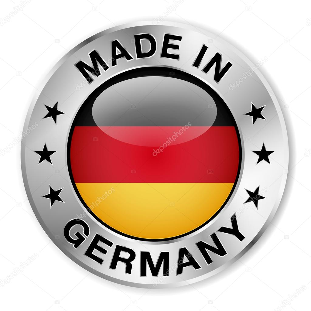 made in germany silver badge stock vector nirodesign. Black Bedroom Furniture Sets. Home Design Ideas