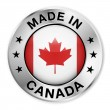 Made In Canada Silver Badge — Stock Vector
