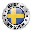 Made In Sweden Silver Badge — Stok Vektör #34842903