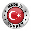 Made In Turkey Silver Badge — Stock Vector #34847687