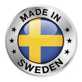 Made In Sweden Silver Badge — Stock Vector