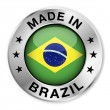 Made In Brazil Silver Badge — Stock Vector