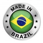 Made In Brazil Silver Badge — Stock Vector