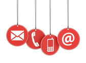 Web Contact Us Icons On Red Tags — Stock Photo