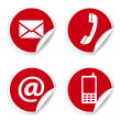 Contact Us Icons On Red Stickers — Grafika wektorowa
