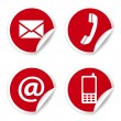 Contact Us Icons On Red Stickers — 图库矢量图片
