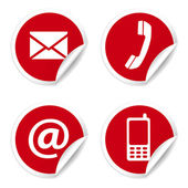 Contact Us Icons On Red Stickers — Stock Vector