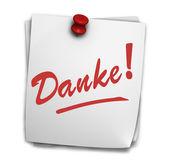 Danke Sign On Post It — Stock Photo