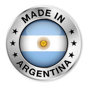 Made In Argentina Silver Badge — Stock Vector