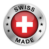 Swiss Made Silver Badge — Stock Vector