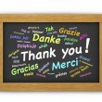 International Thank You Chalkboard — Stock Photo