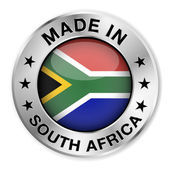 Made In South Africa Silver Badge — Stock Vector