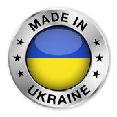 Made In Ukraine Silver Badge — Stock Vector