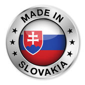 Made In Slovakia Silver Badge — Stock Vector