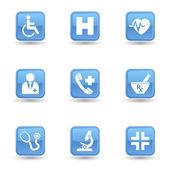 Lékařské lesklý ikony nastavit — Stock vektor