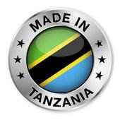 Made In Tanzania Silver Badge — Stock Vector