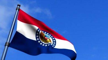 Missouri Flag Waving On Blue Sky HD — Stock Video