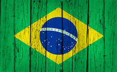 Brazil Flag Wood Background — Stock Photo