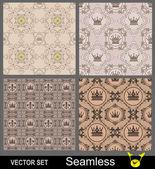 Vintage inconsútil. patrón de papel tapiz. conjunto de vectores — Vector de stock