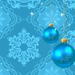 Christmas decorations on a blue background — Stock Vector