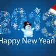 Happy new year 2013. Christmas. Blue background. — Stock Vector