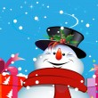 Stock Vector: Christmas background. Snowman.