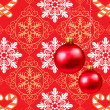Christmas decorations in red background - Stock Vector