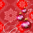 Christmas decorations in red background — Stock Vector