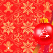 Christmas decorations in red background — Stock Vector #12196832