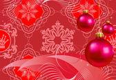 Juldekorationer i röd bakgrund圣诞装饰品的红色背景 — 图库矢量图片