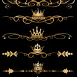 Vector set. Victorian Scrolls and crown. Decorative elements. — Stock Vector #17177777