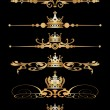 Vector set. Victorian Scrolls and crown. Decorative elements. - Stockvectorbeeld