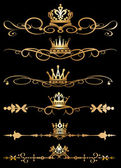Vector set. victoriaanse rollen en kroon. decoratieve elementen. — Stockvector