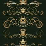 Vector set. Victorian Scrolls and crown. — Stock Vector #17189437