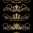 Stock Vector: Vector set. Victorian Scrolls and crown. Decorative elements.