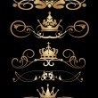 Victorian Scrolls and crown. Vintage. Vector set. Decorative elements. — Stock Vector