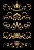 Vector set. victoriaanse rollen en kroon. decoratieve elementen. — Stockvector