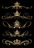 Victorian Scrolls and crown for your design. — Vector de stock