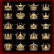 Crown. Gold set. Collection icons. Vector. — Vector de stock