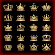 Crown. Gold set. Collection icons. Vector. — Stock vektor