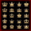 Crown. Gold set. Collection icons. Vector. — Stockvector