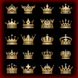 Crown. Gold set. Collection icons. Vector. — Stok Vektör