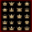 Crown. Gold set. Collection icons. Vector. — Vettoriale Stock