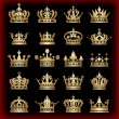 Crown. Gold set. Collection icons. Vector. — Stockvektor