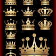 Crown. Gold set. Collection icons. Vector. — Imagens vectoriais em stock