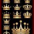 Crown. Gold set. Collection icons. Vector. — Cтоковый вектор