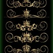 Vector set. Victorian Scrolls and crown. — Stock Vector
