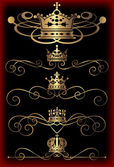 Vector set. Victorian Scrolls and crown. Decorative elements. — Stock Vector