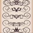 Stock Vector: Vector set. VictoriScrolls and crown.