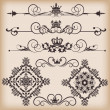 Vector set. Victorian Scrolls and crown. - 图库矢量图片